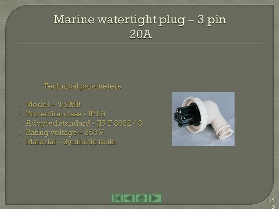 Marine watertight plug – 3 pin 20A