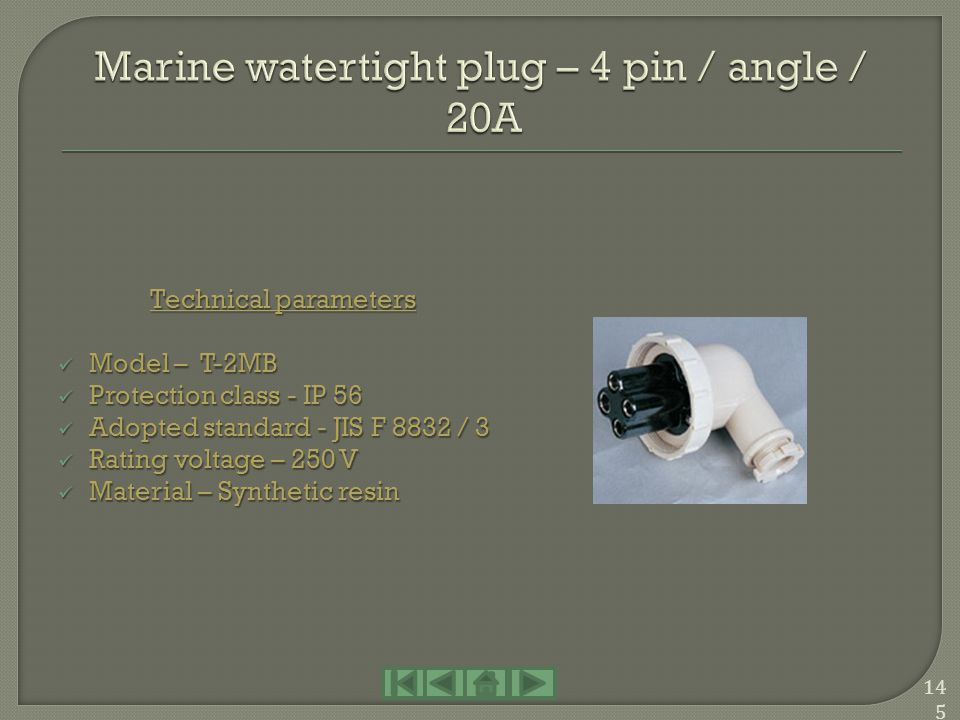 Marine watertight plug – 4 pin / angle / 20A