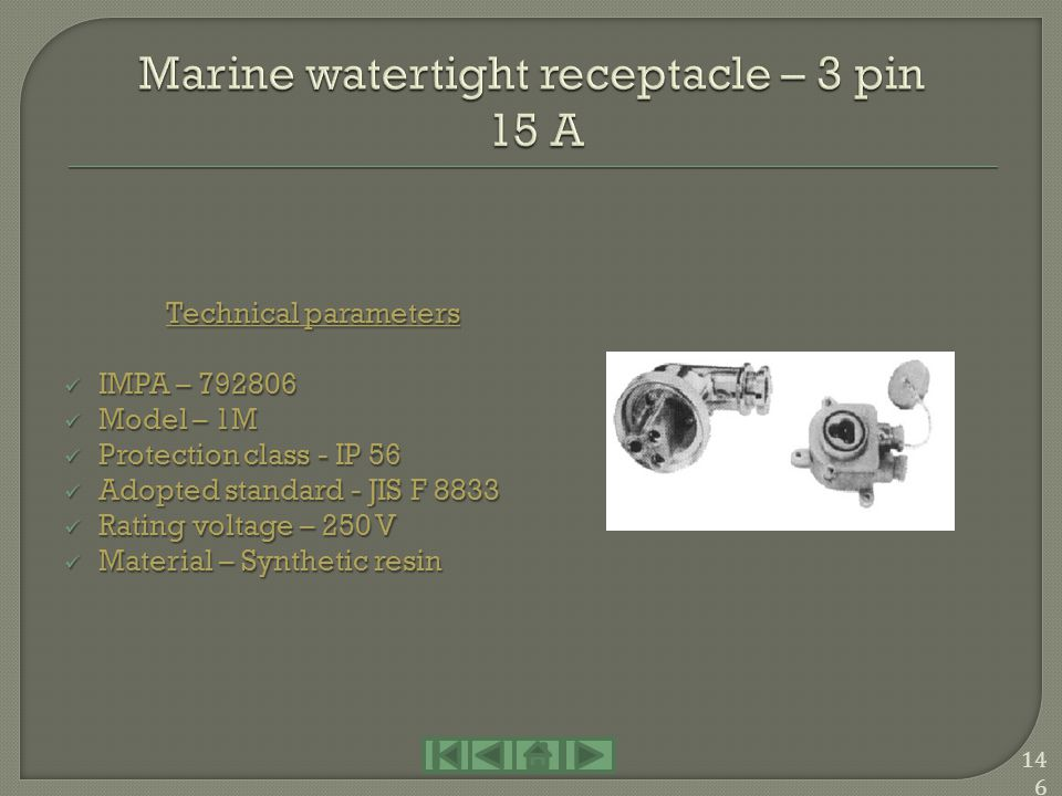 Marine watertight receptacle – 3 pin 15 A