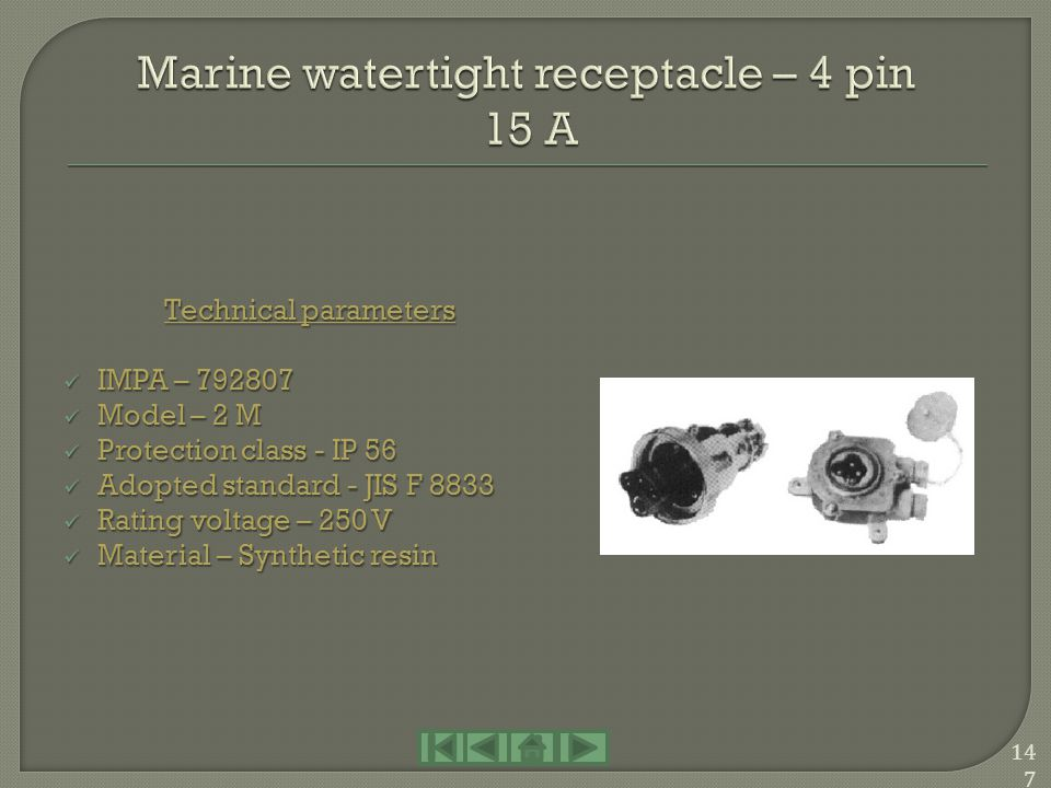 Marine watertight receptacle – 4 pin 15 A