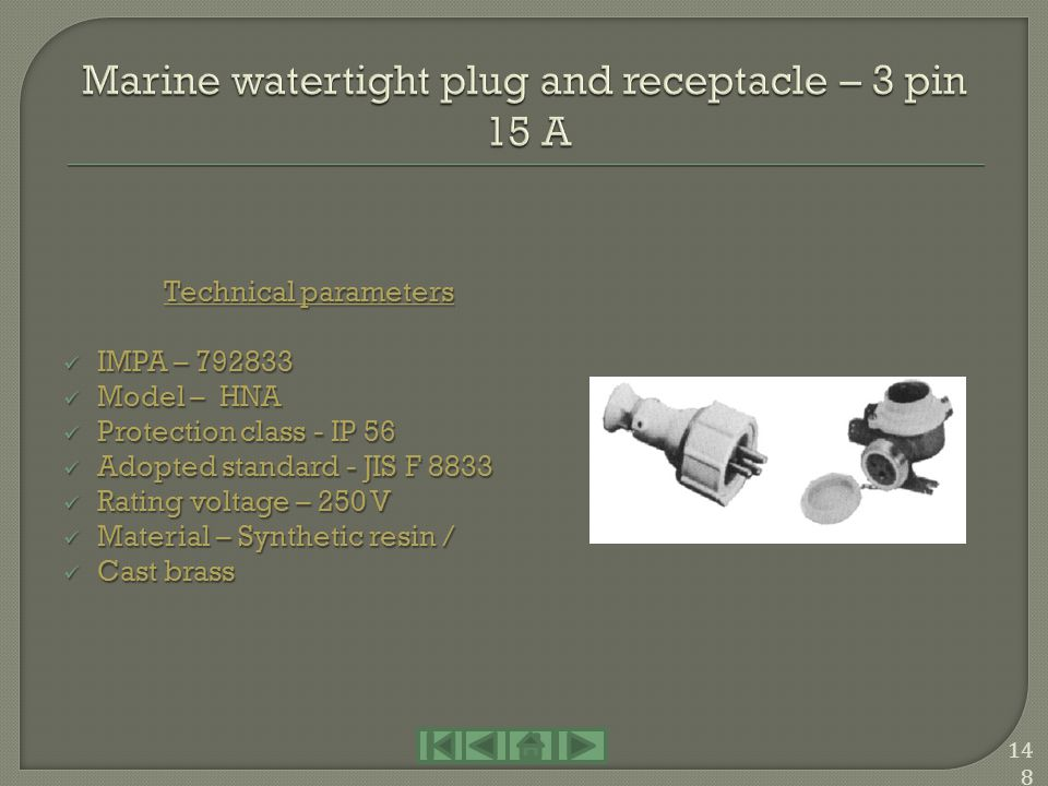 Marine watertight plug and receptacle – 3 pin 15 A