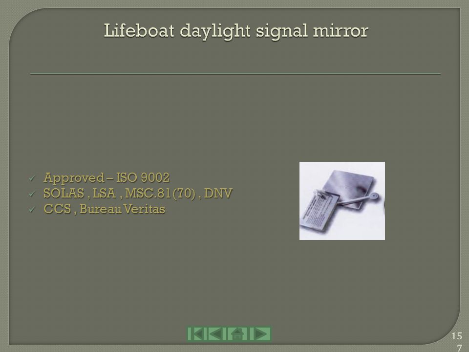 Lifeboat daylight signal mirror
