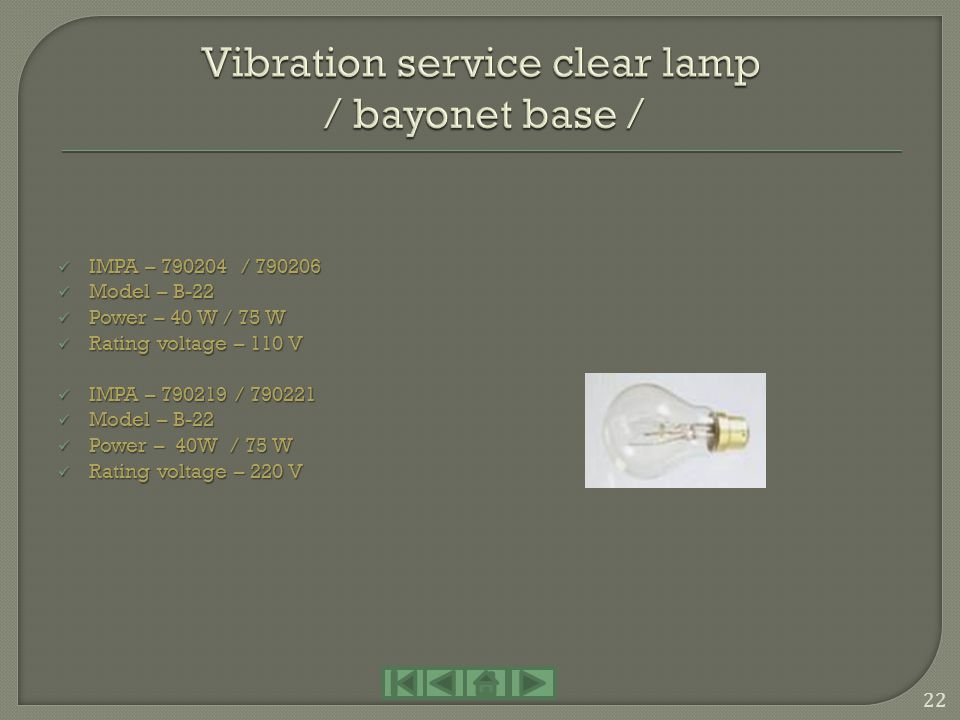 Vibration service clear lamp / bayonet base /