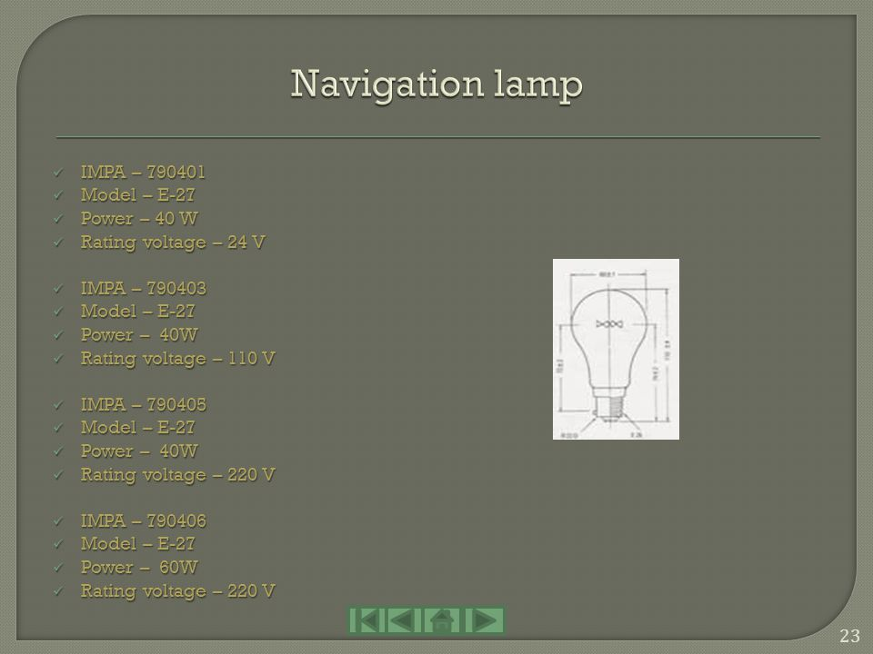 Navigation lamp IMPA – 790401 Model – E-27 Power – 40 W