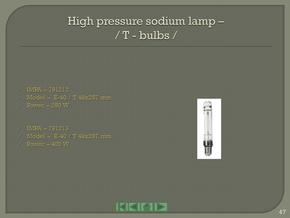 High pressure sodium lamp – / T - bulbs /