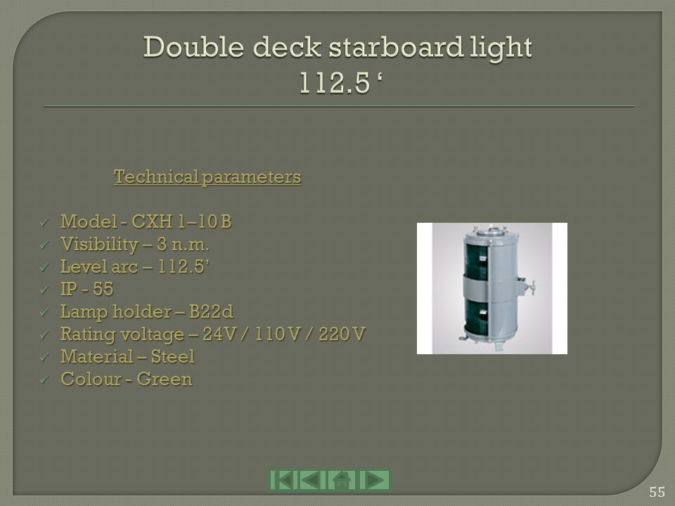 Double deck starboard light 112.5 '