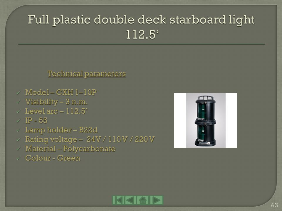 Full plastic double deck starboard light 112.5'