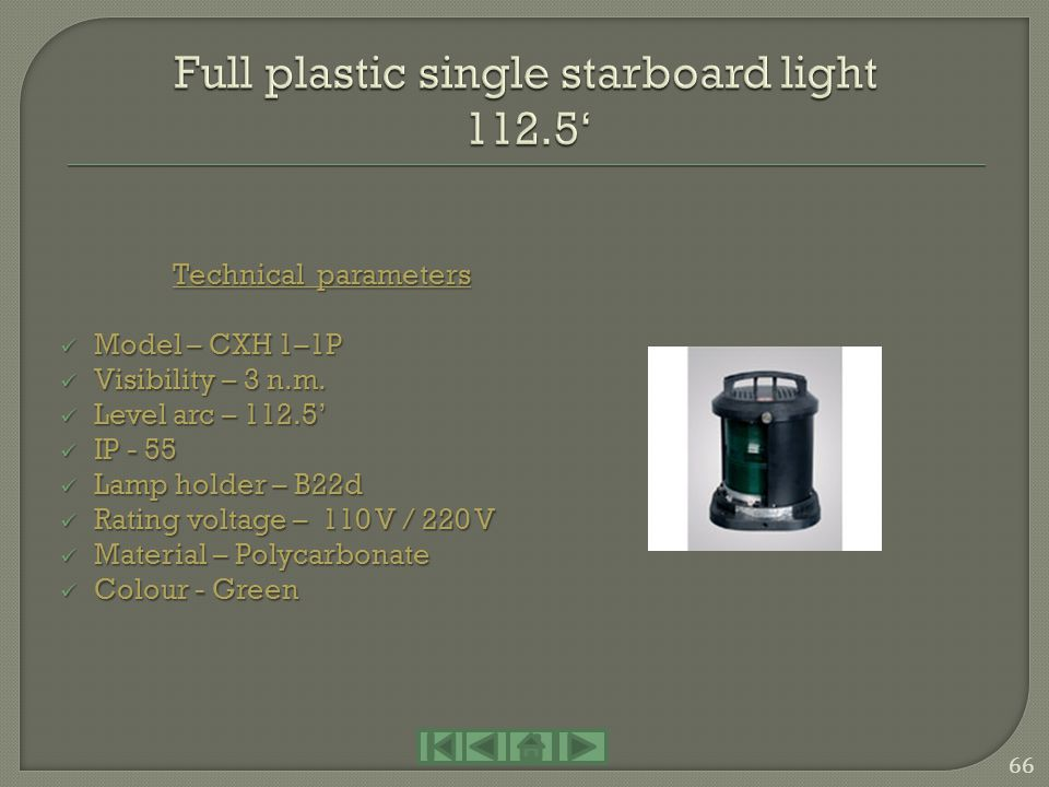 Full plastic single starboard light 112.5'