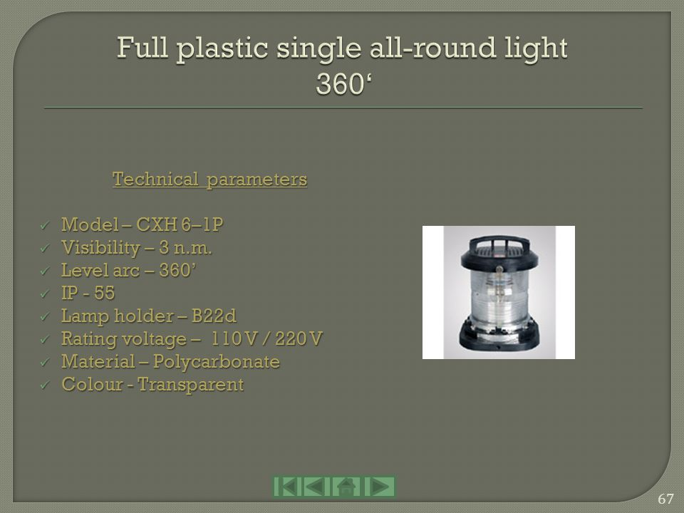 Full plastic single all-round light 360'