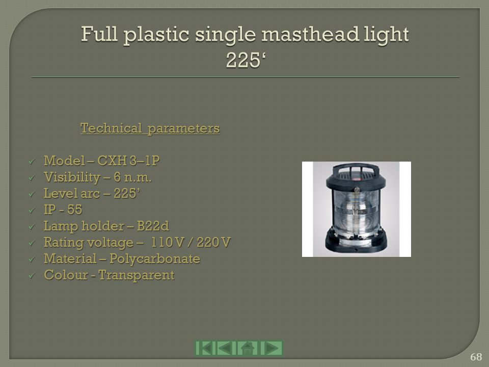 Full plastic single masthead light 225'