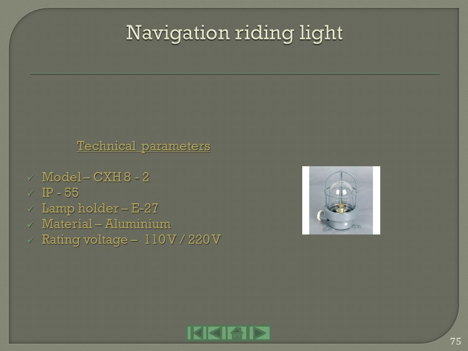 Navigation riding light