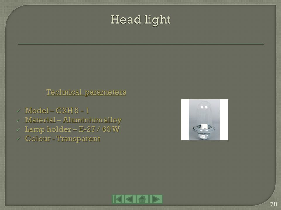 Head light Technical parameters Model – CXH 5 - 1