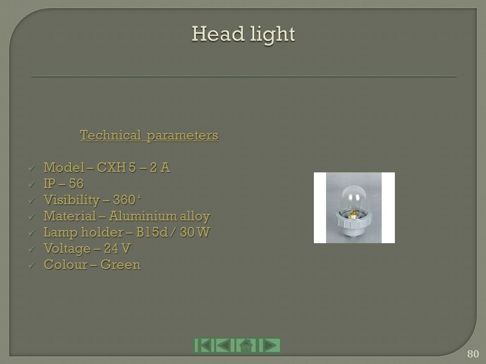 Head light Technical parameters Model – CXH 5 – 2 A IP – 56