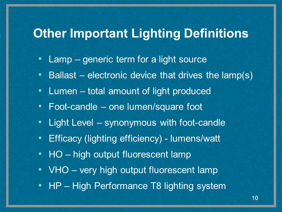 Other Important Lighting Definitions