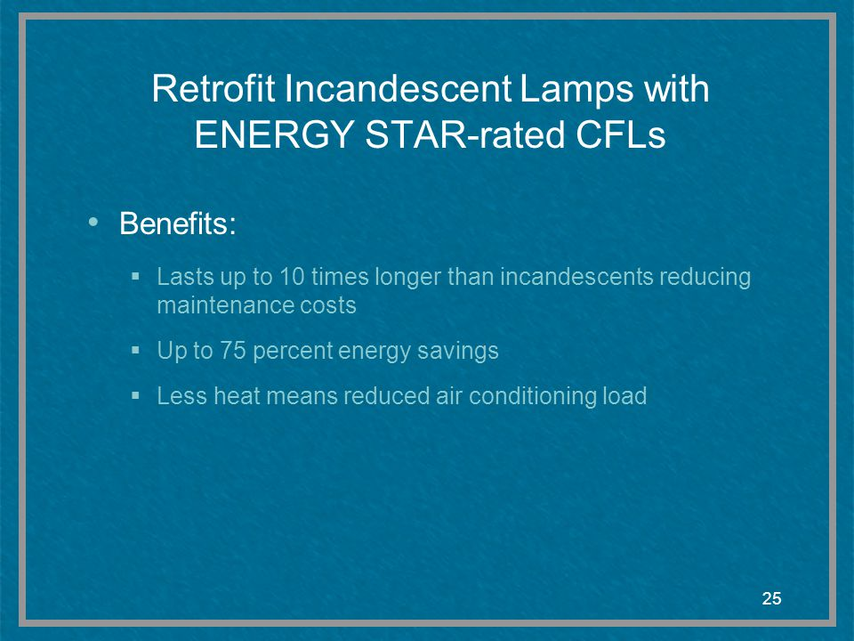 Retrofit Incandescent Lamps with ENERGY STAR-rated CFLs