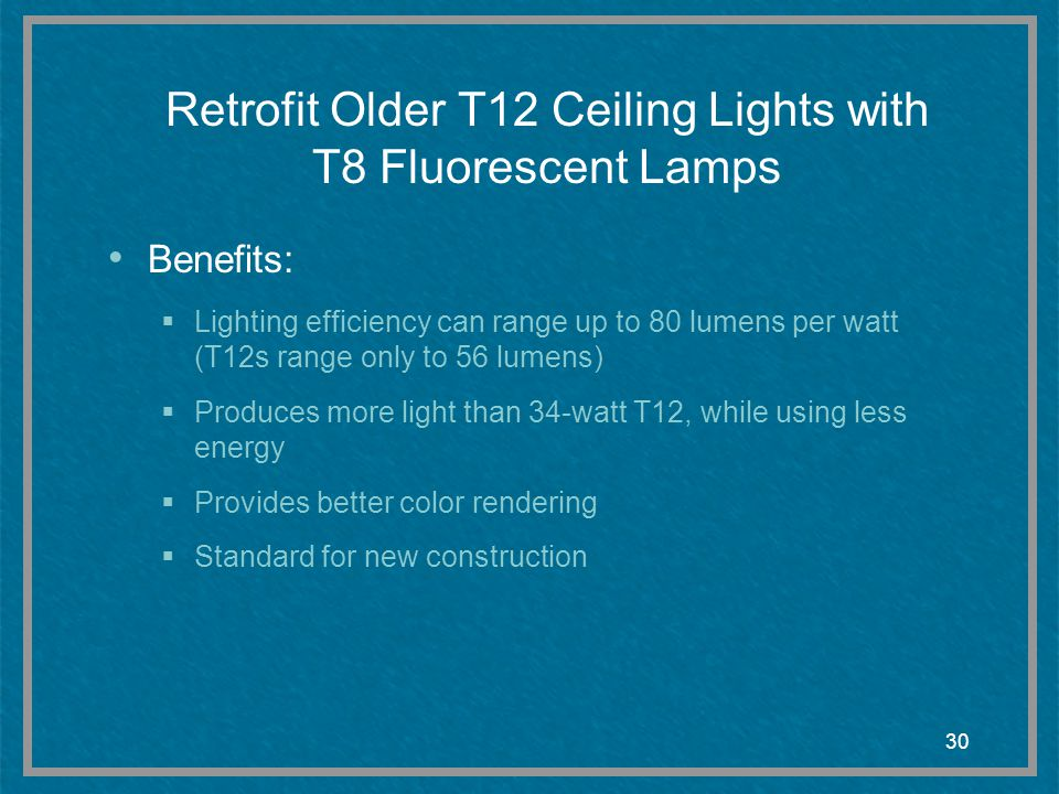 Retrofit Older T12 Ceiling Lights with T8 Fluorescent Lamps