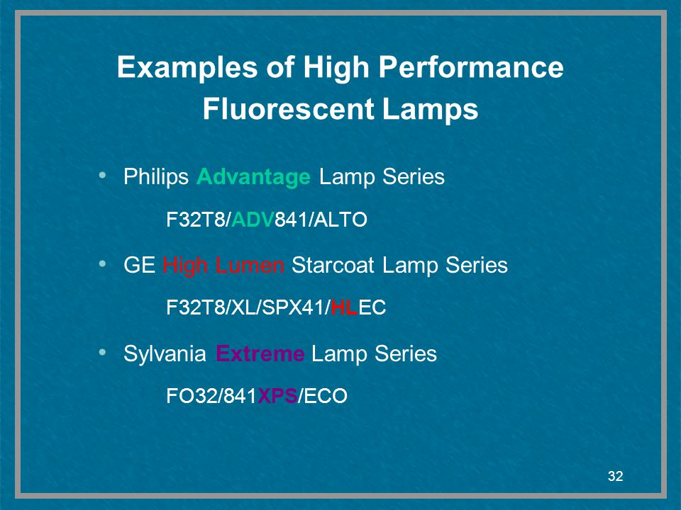 Examples of High Performance Fluorescent Lamps