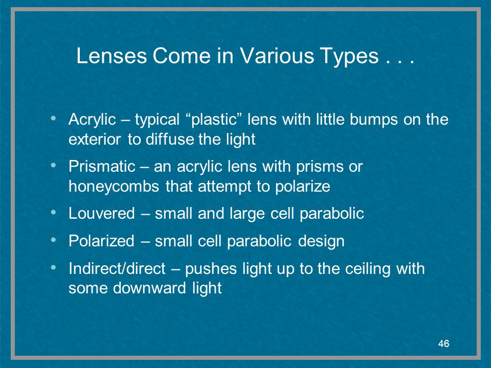 Lenses Come in Various Types . . .