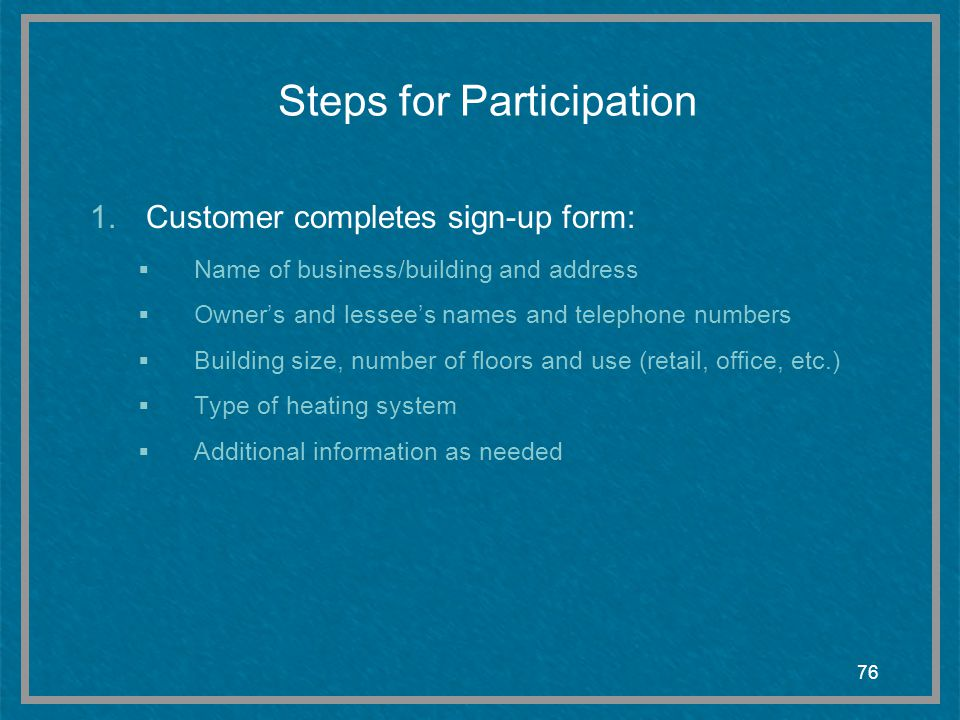 Steps for Participation
