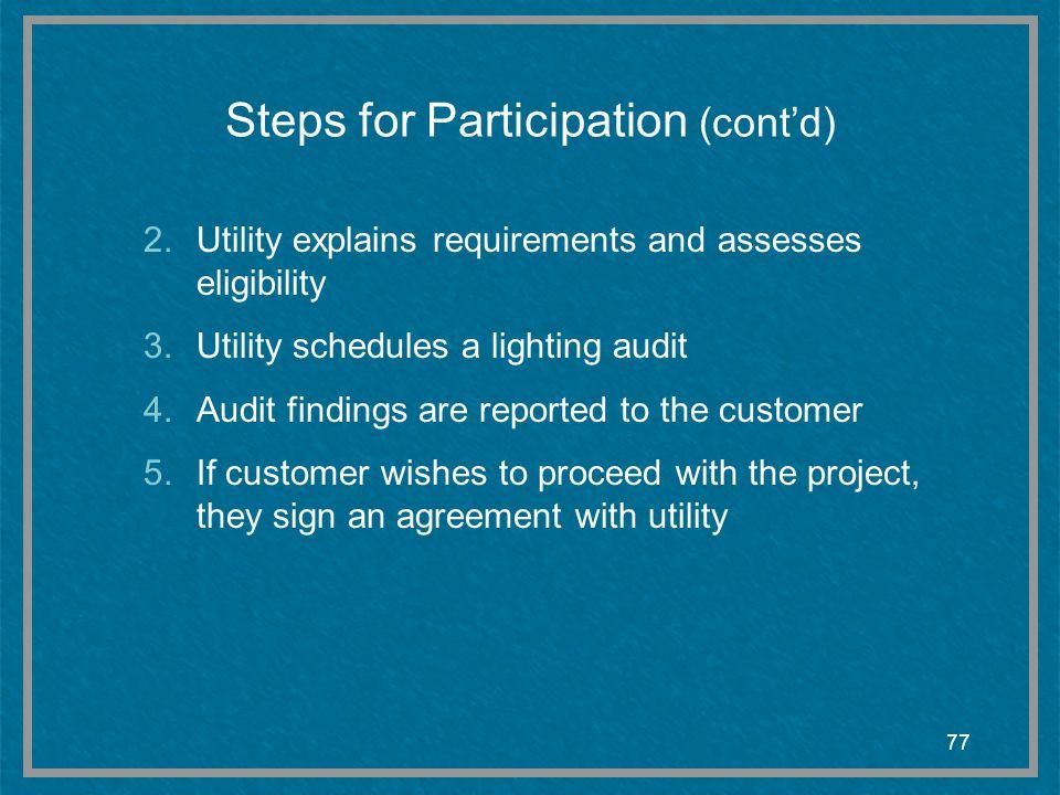 Steps for Participation (cont'd)