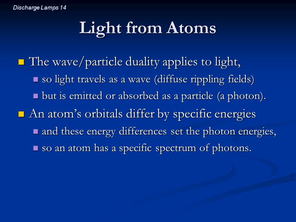 Light from Atoms The wave/particle duality applies to light,
