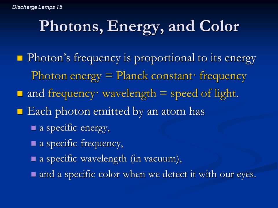 Photons, Energy, and Color