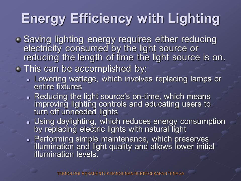 Energy Efficiency with Lighting