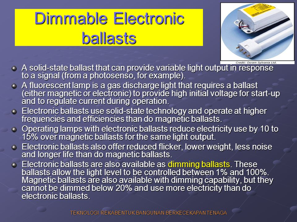 Dimmable Electronic ballasts