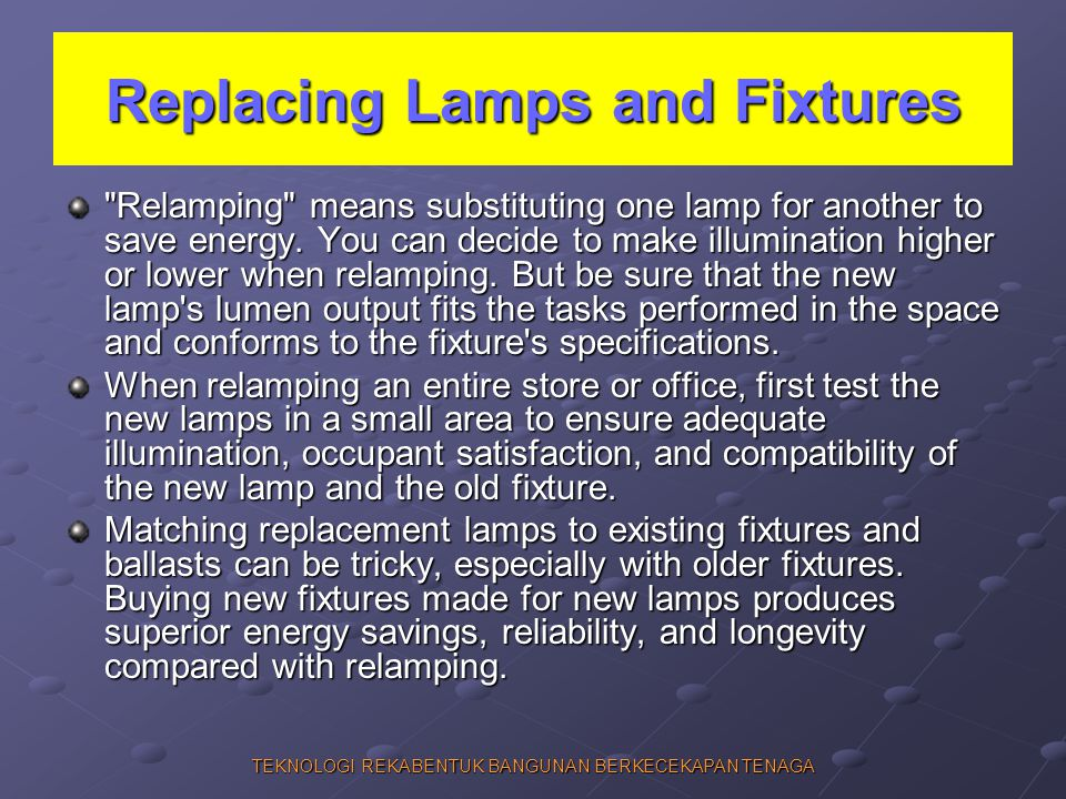 Replacing Lamps and Fixtures