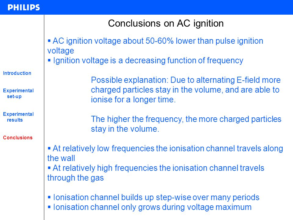 Conclusions on AC ignition