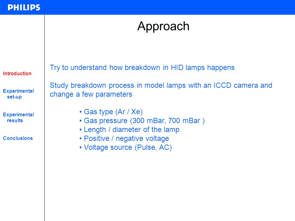 Approach Try to understand how breakdown in HID lamps happens
