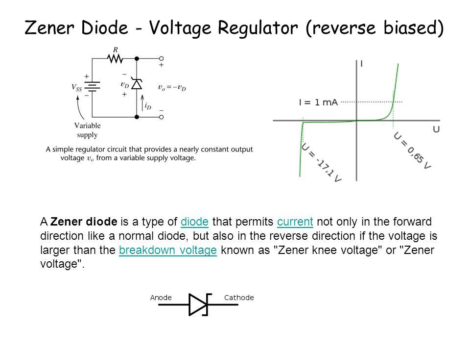 Zener Diode - Voltage Regulator (reverse biased)