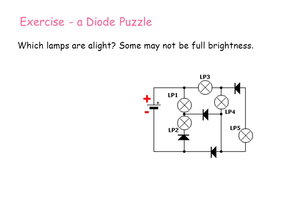 + + - - Exercise - a Diode Puzzle