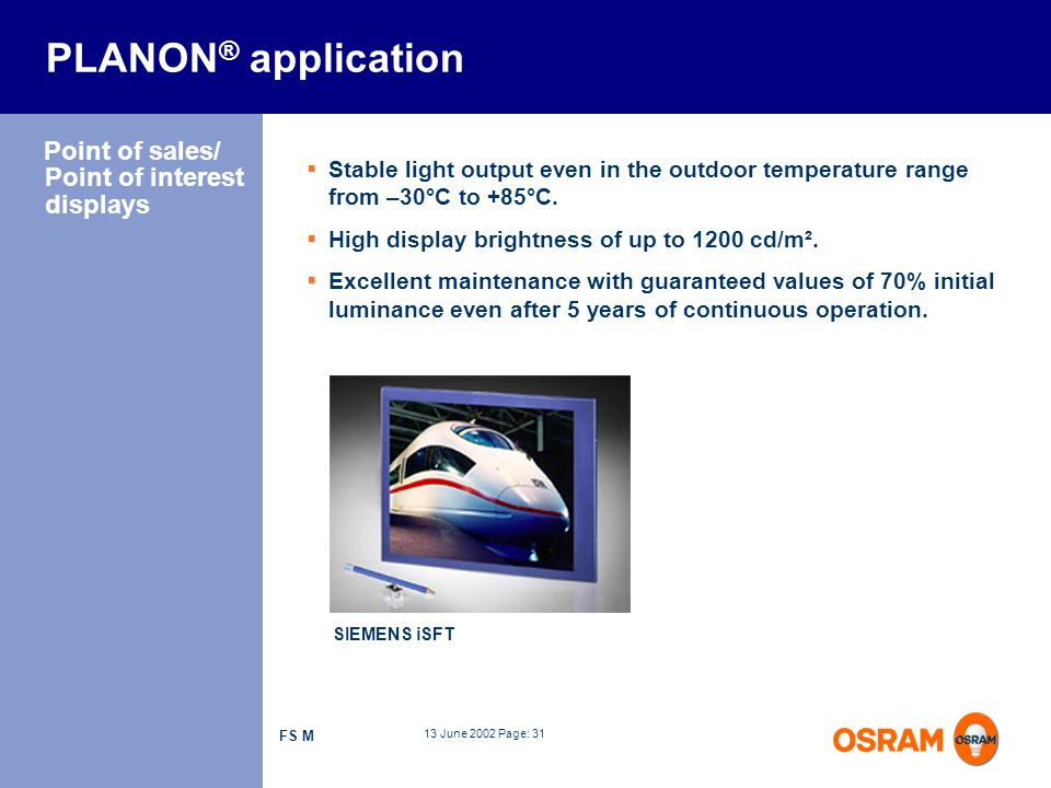 PLANON® application Point of sales/ Point of interest displays