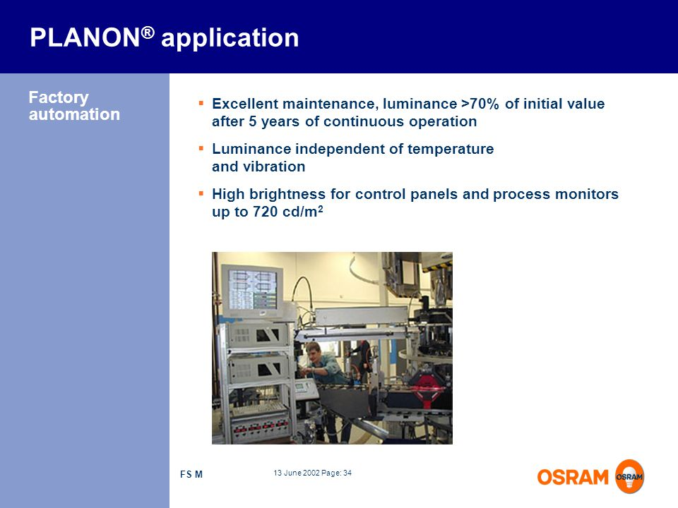 PLANON® application Factory automation
