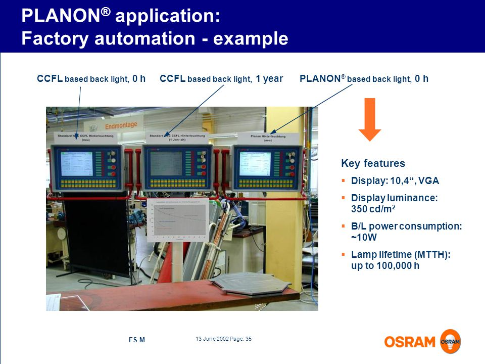 PLANON® application: Factory automation - example