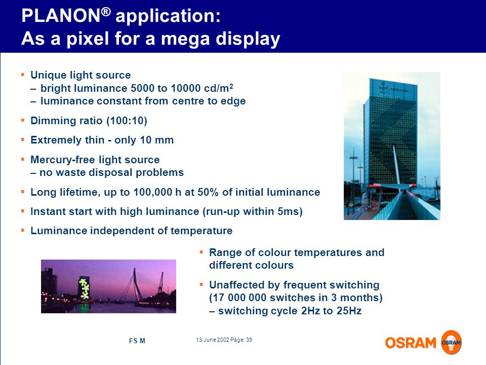 PLANON® application: As a pixel for a mega display