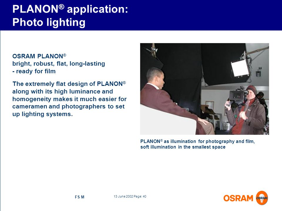 PLANON® application: Photo lighting