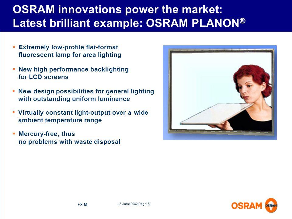 OSRAM innovations power the market: Latest brilliant example: OSRAM PLANON®