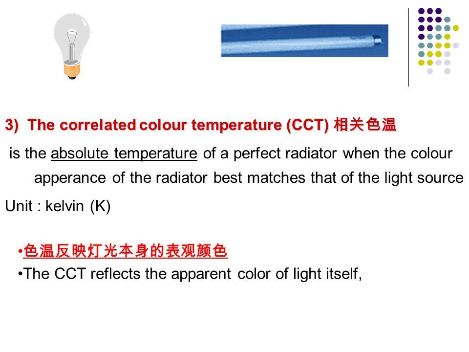 3) The correlated colour temperature (CCT) 相关色温