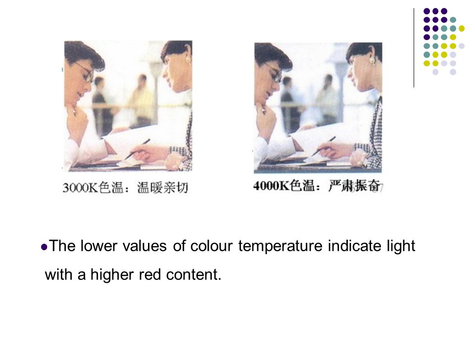 The lower values of colour temperature indicate light