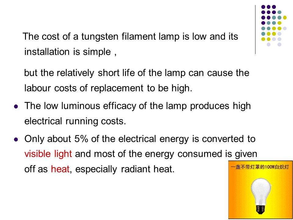 The cost of a tungsten filament lamp is low and its installation is simple ,