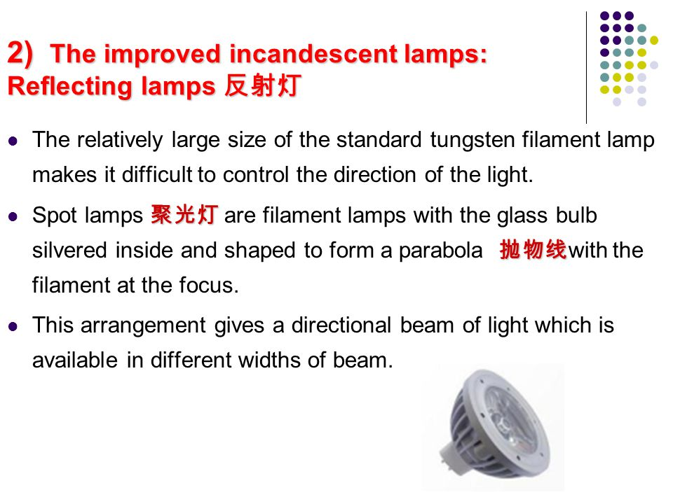 2) The improved incandescent lamps: Reflecting lamps 反射灯