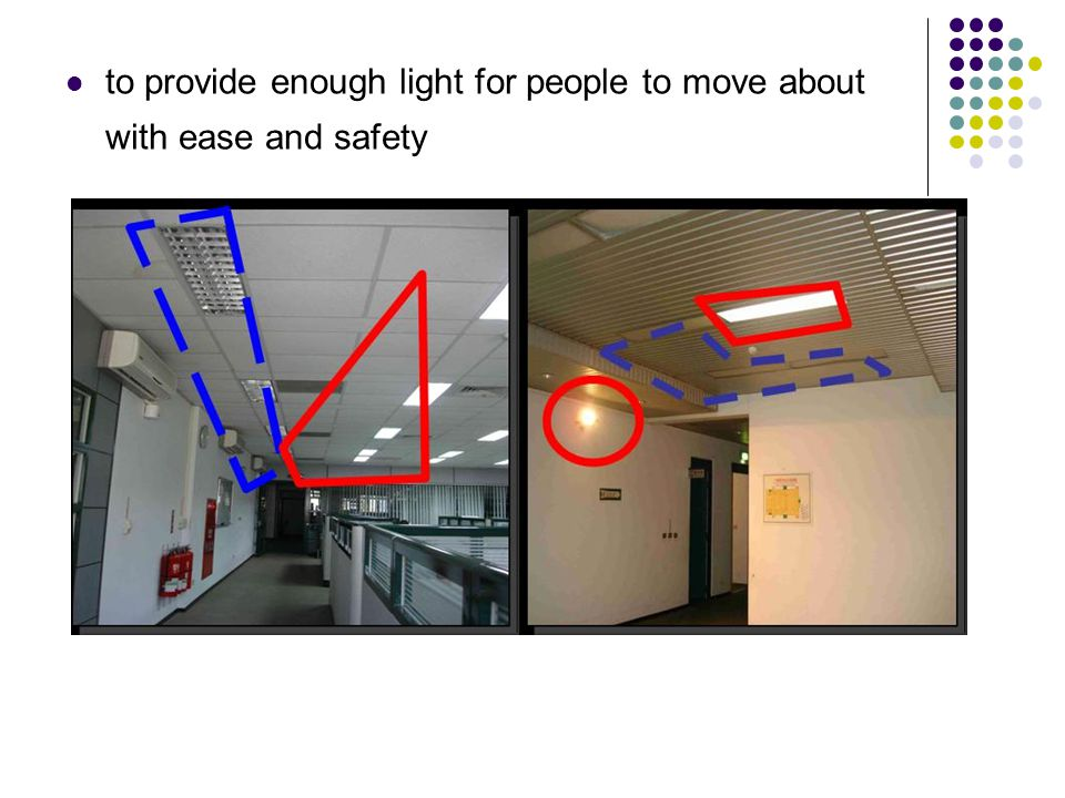 to provide enough light for people to move about with ease and safety