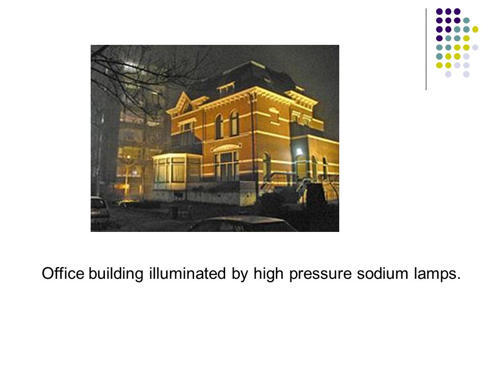 Office building illuminated by high pressure sodium lamps.