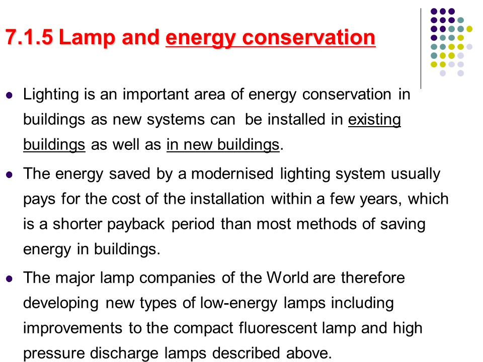 7.1.5 Lamp and energy conservation