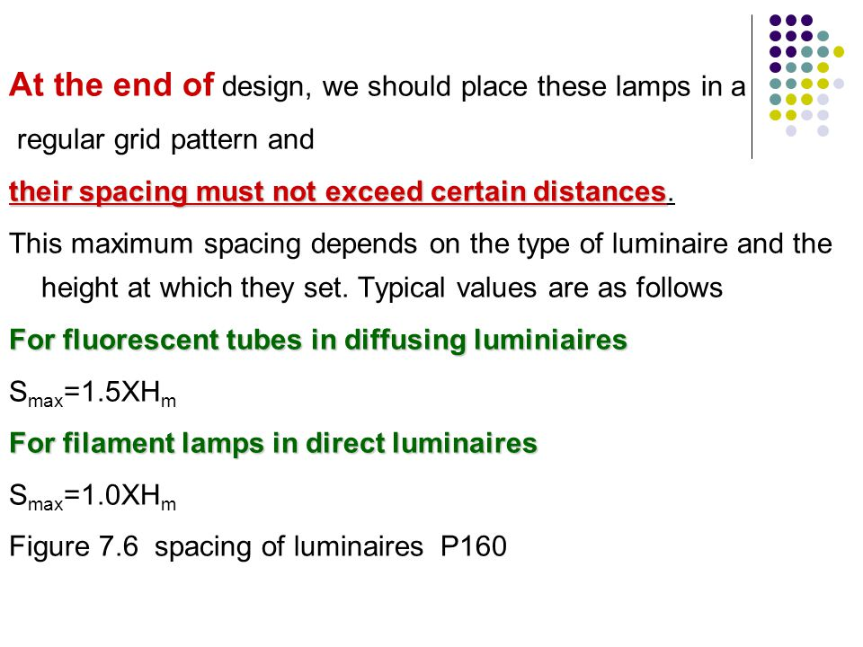 At the end of design, we should place these lamps in a