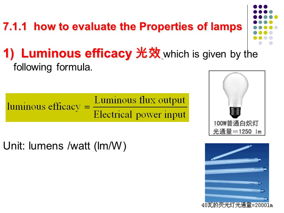 7.1.1 how to evaluate the Properties of lamps