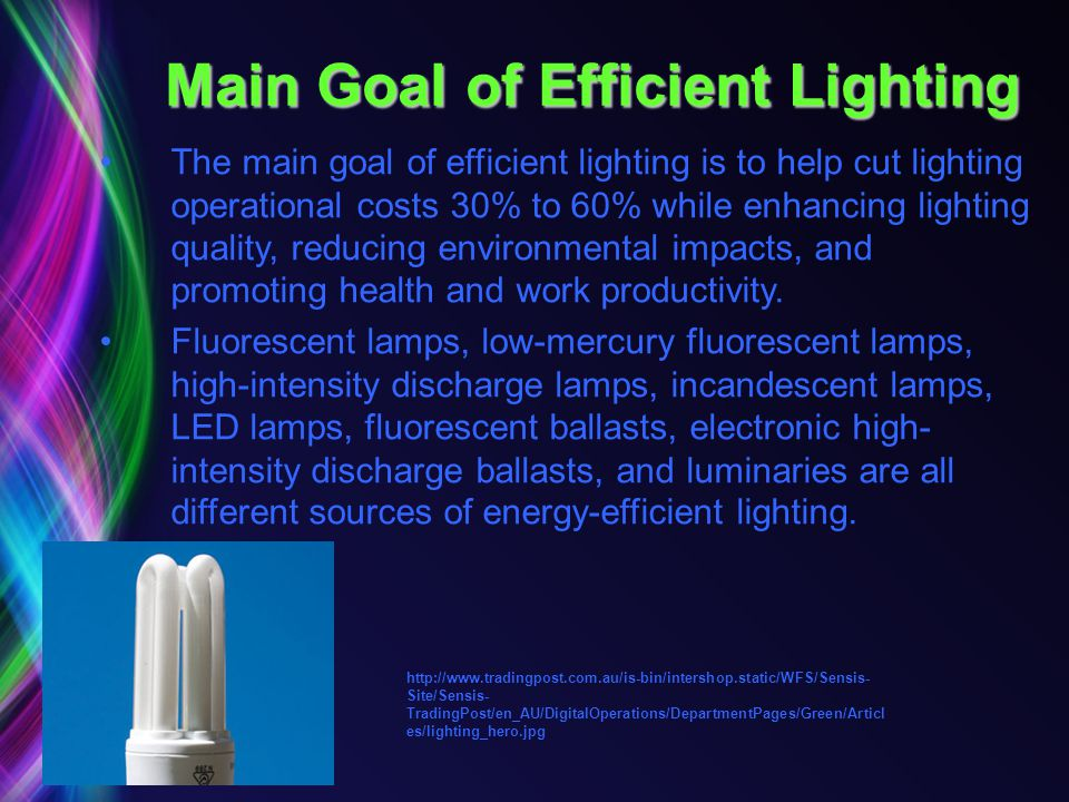 Main Goal of Efficient Lighting