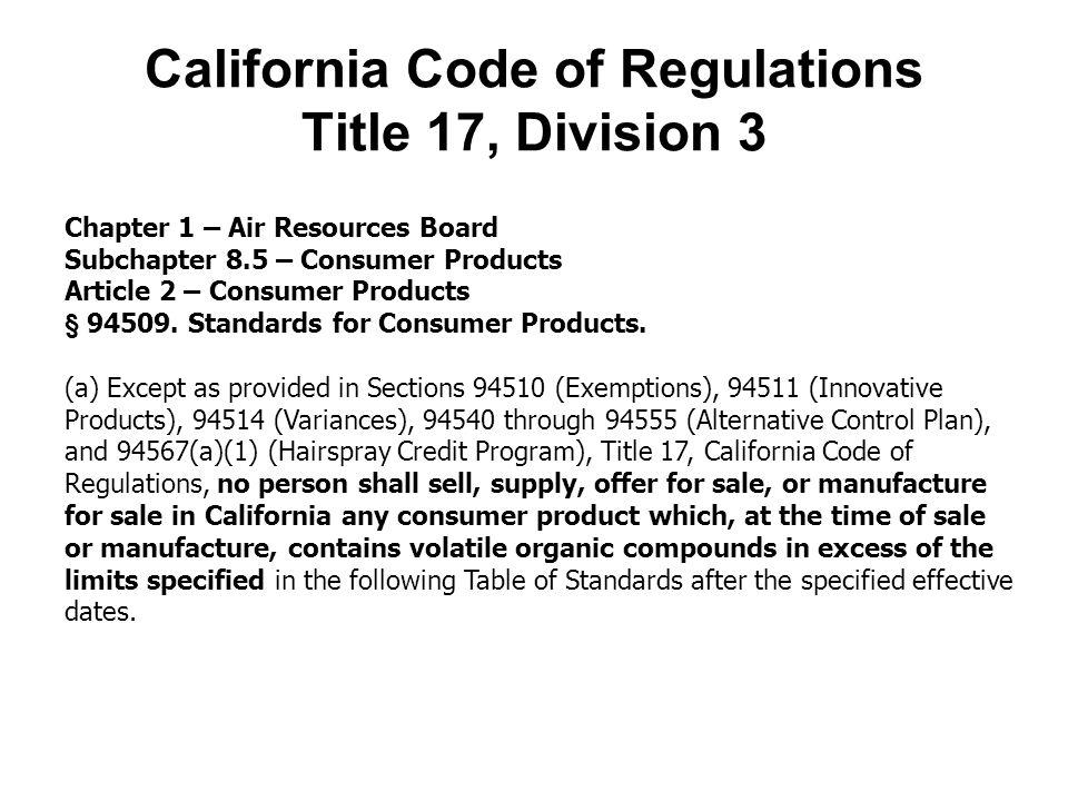 California Code of Regulations Title 17, Division 3